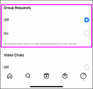 "Tap ""Off"" under Group Requests."