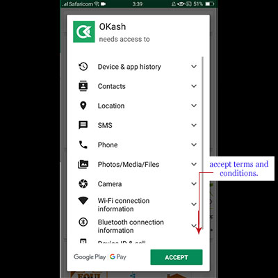 how to download okash app okash loan application accept terms and conditions